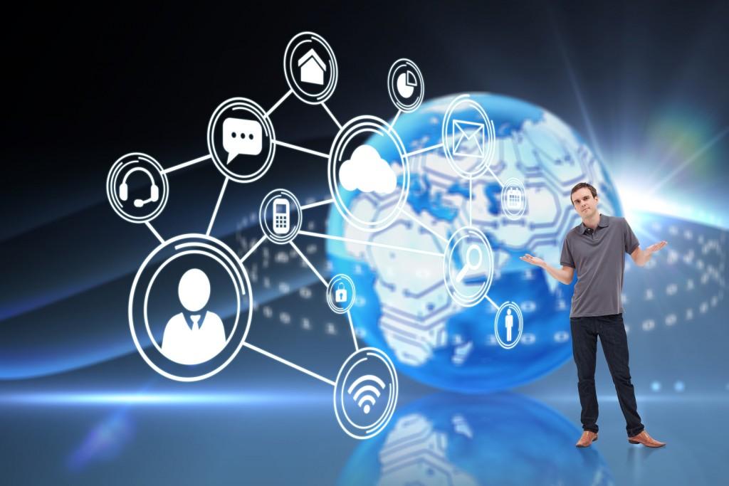 Man shrugging his shoulders against digital earth background