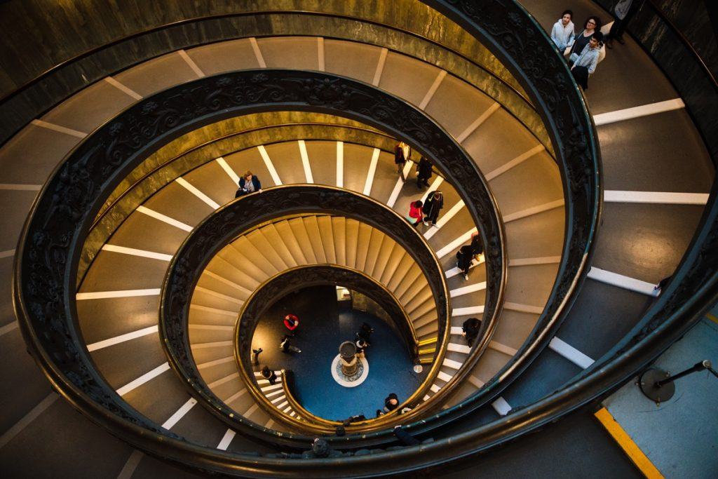 spiral staircase to illustrate the concept of a signup funnel